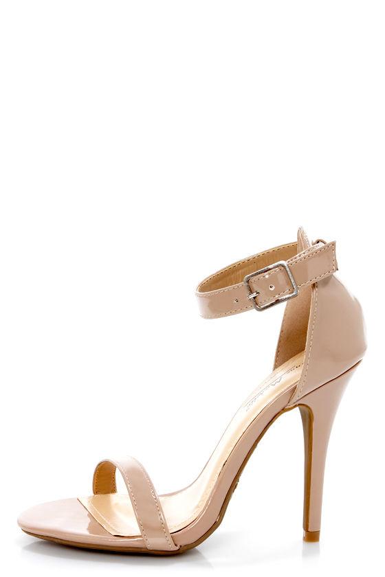 b580a10eaed Anne Michelle Enzo 01N Nude Patent Single Strap Heels -  26.00
