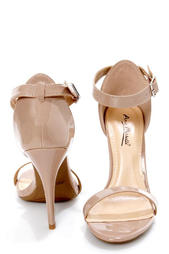 619476c5d Anne Michelle Enzo 01N Nude Patent Single Strap Heels - $26.00