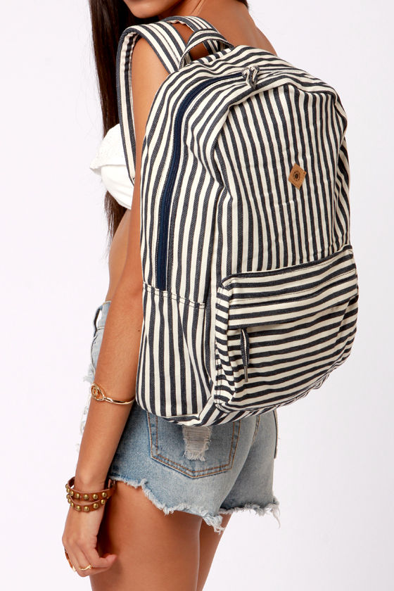 Rhythm Keef Navy Blue and Ivory Striped Backpack at Lulus.com!