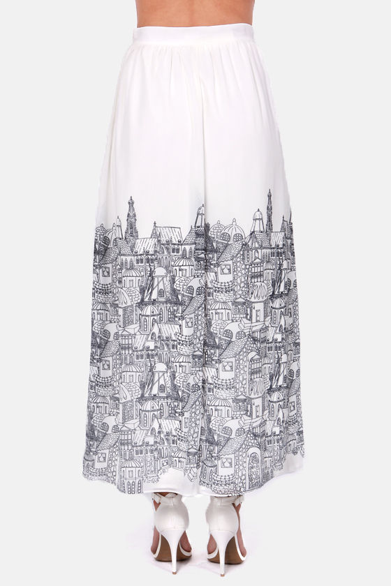 American in Paris Ivory City Print Maxi Skirt at Lulus.com!