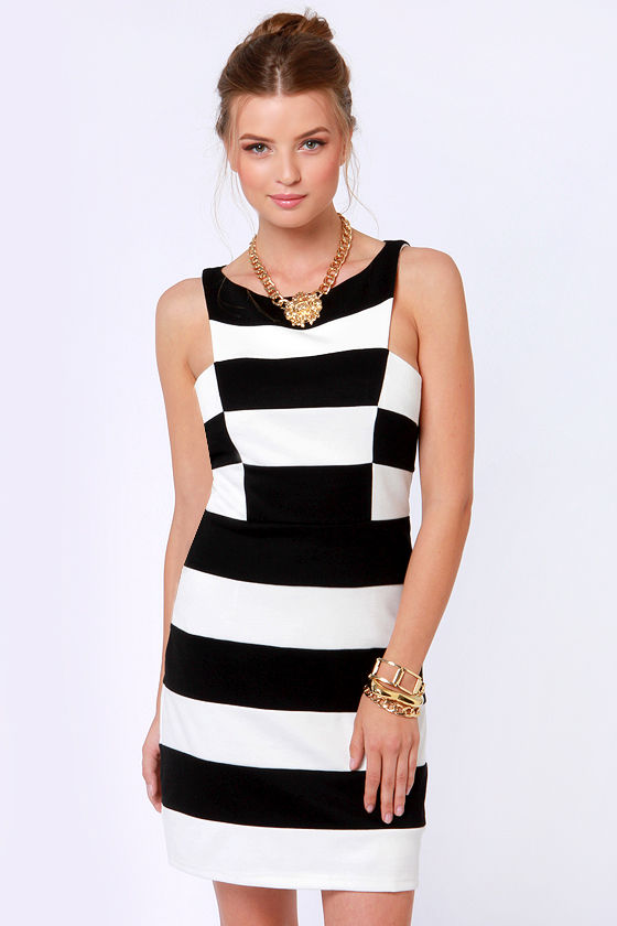 Back By De-band Black and White Striped Dress at Lulus.com!
