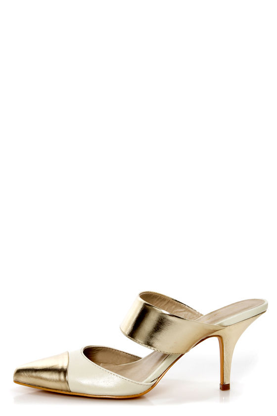 C Label Nina 5 Gold and Cream Cap-Toe Pointed Heels at Lulus.com!