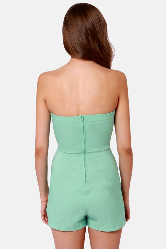 LULUS Exclusive Romp Around Strapless Mint Romper at Lulus.com!