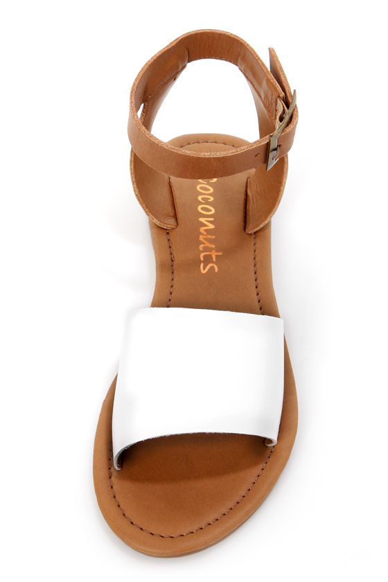 Coconuts All About White and Tan Flat Sandals at Lulus.com!