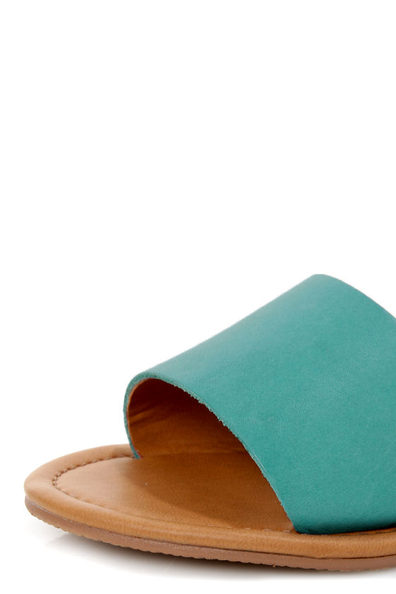 Coconuts All About Turquoise Multi Color Block Flat Sandals at Lulus.com!