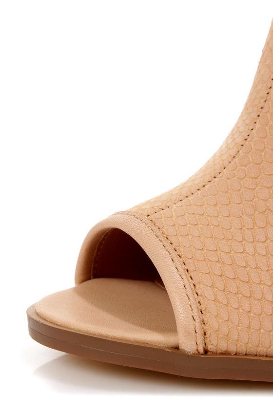 Kelsi Dagger Giadda Nude Snake Embossed Slingback Slide Heels at Lulus.com!