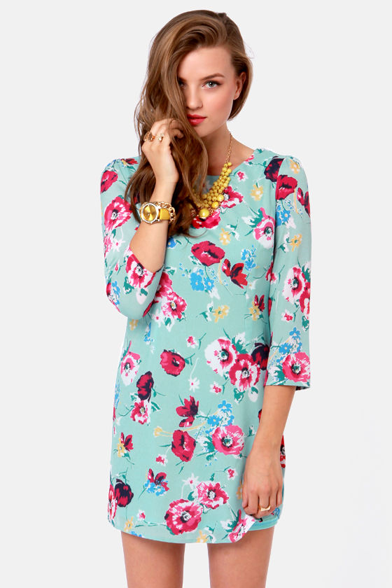 Pretty Light Blue Dress - Floral Dress - Print Dress - $45.00