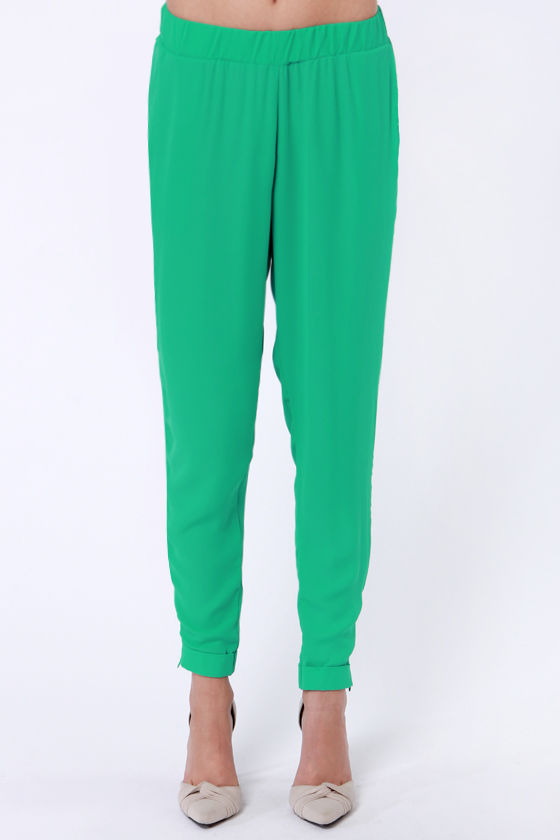 Taper Recorder Green Harem Pants at Lulus.com!