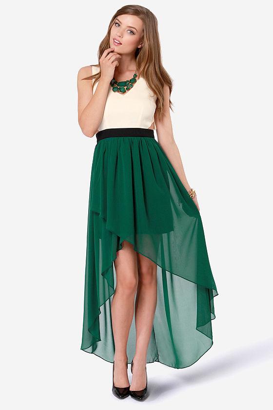 Dark Green High Low Dress