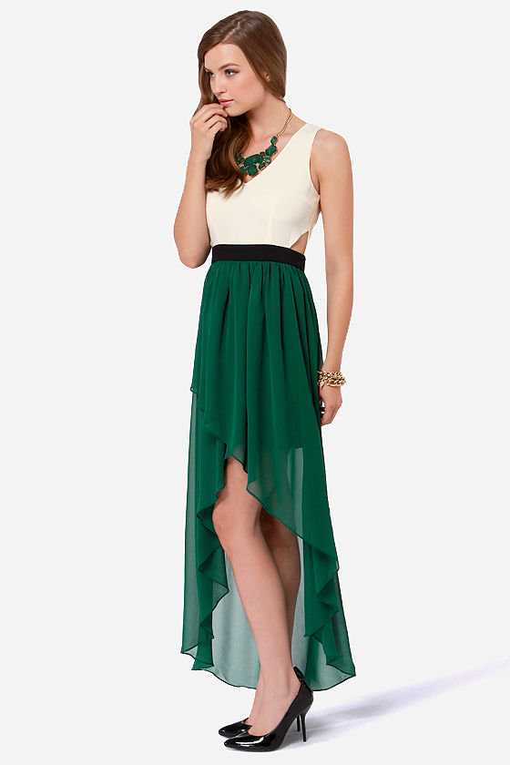 Heart of Class Dark Green and Cream High-Low Dress at Lulus.com!
