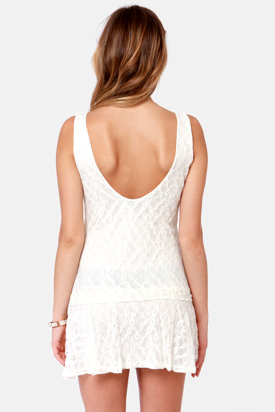 Break the Ice Ivory Lace Mini Dress at Lulus.com!