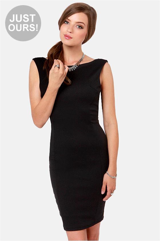 Little Black Dress - Backless Dress - Sheath Dress - $41.00