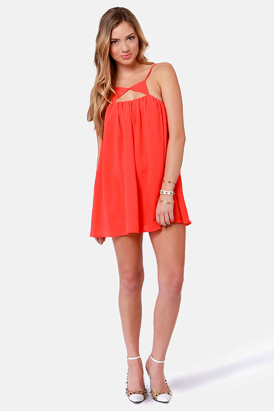 Caught on Shape Neon Coral Dress at Lulus.com!
