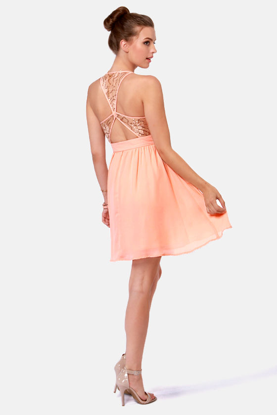 Sparks Fly Peach Sequin Dress at Lulus.com!