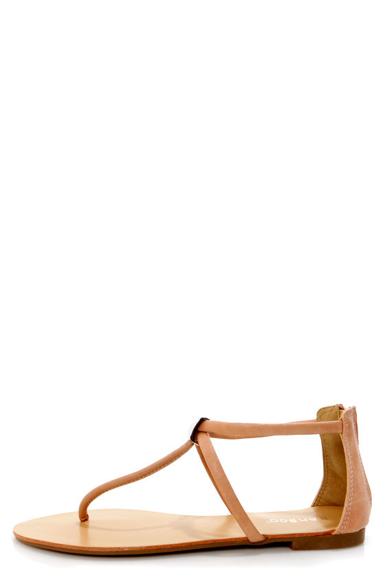 Bamboo Grayson 01 Nude T-Strap Thong Sandals at Lulus.com!