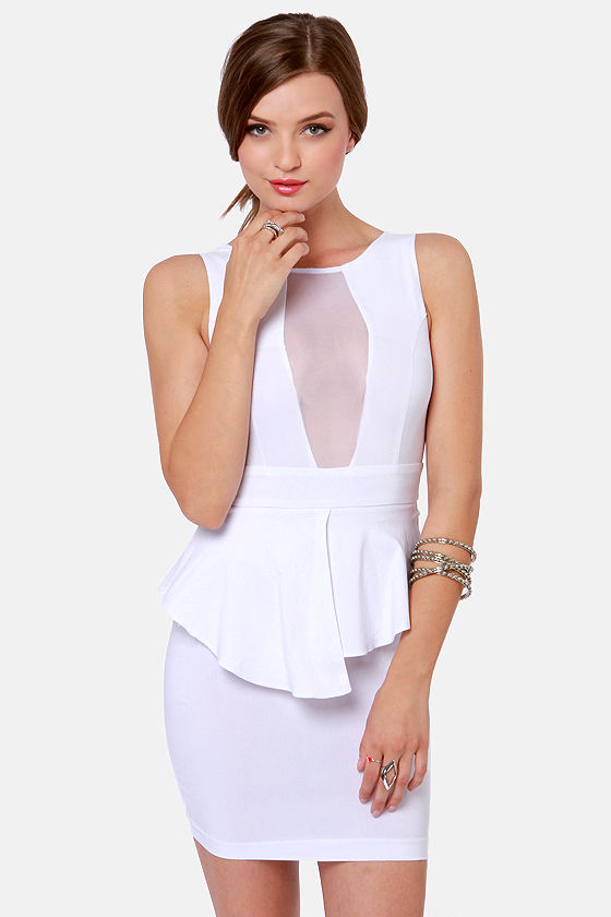Sexy White Dress - Cutout Dress - Peplum Dress - $34.00