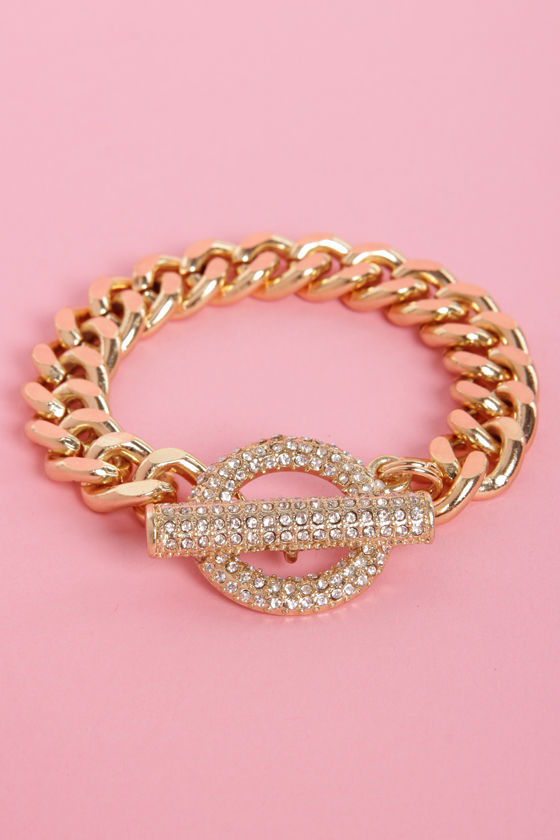 Ring and Shine Gold Rhinestone Bracelet at Lulus.com!