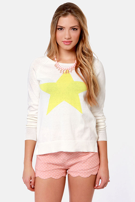 Billabong Show-In-Off Ivory Star Print Sweater at Lulus.com!