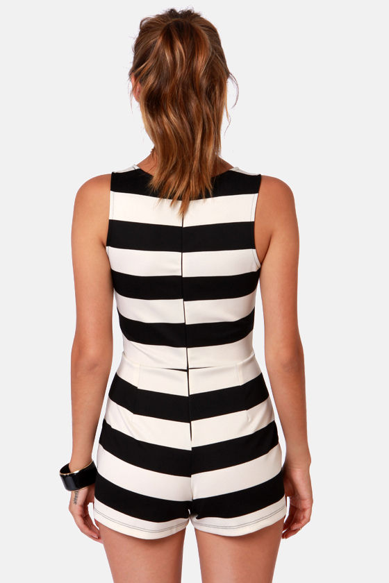 Know Your Black and Whites Striped Romper at Lulus.com!