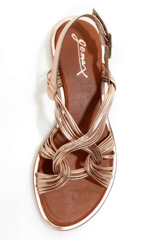 GoMax Kitty Corner 12 Rose Gold Strappy Flat Sandals at Lulus.com!