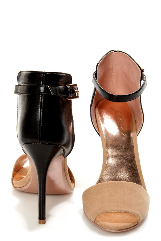 GoMax Calantha 01 Black and Tan High Rise High Heels at Lulus.com!