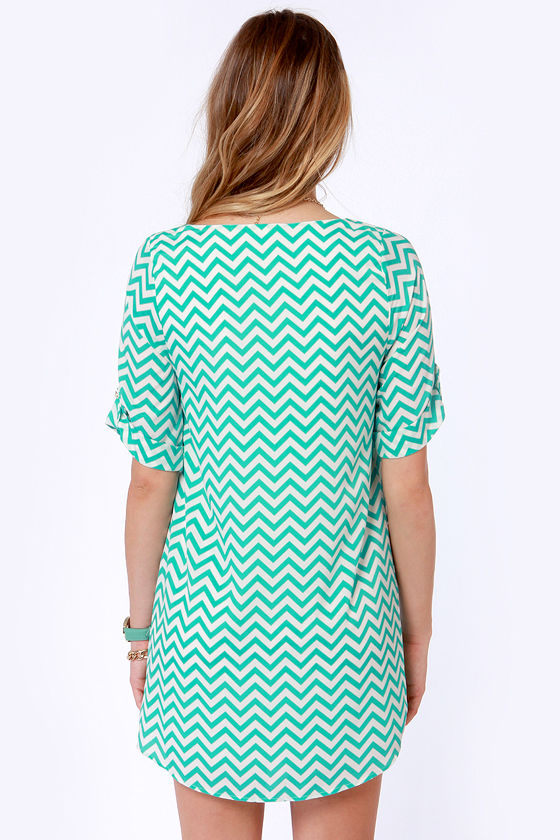 Poppin' Zags Teal Chevron Print Dress at Lulus.com!