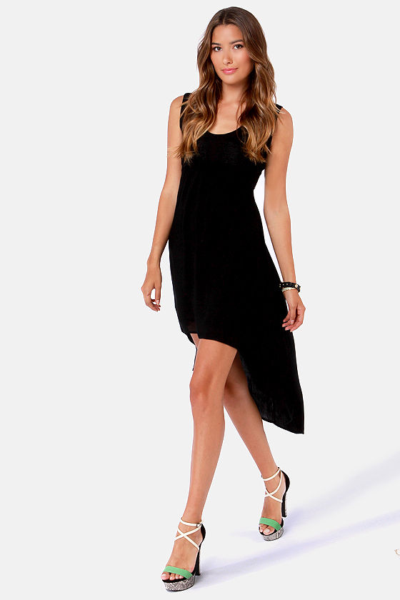 New Moon Black Lace High-Low Dress at Lulus.com!