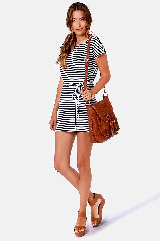 Cute Striped Dress - White Dress - Navy Blue Dress - $33.00