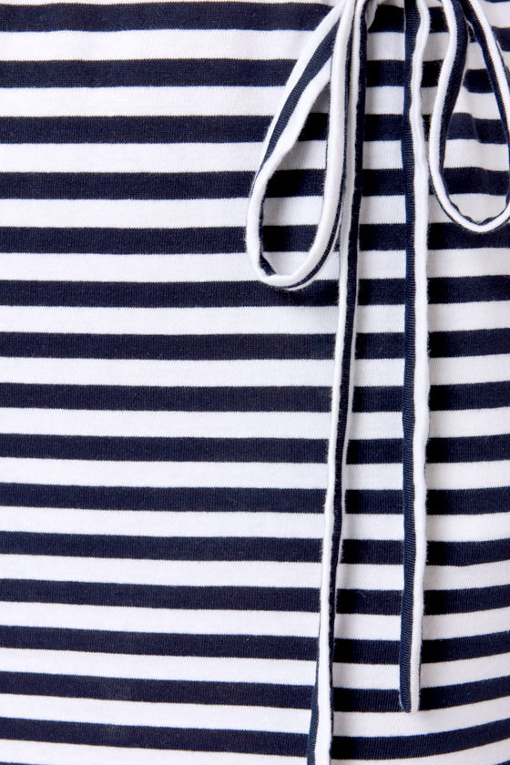 Boat Couture White and Navy Blue Striped Dress at Lulus.com!