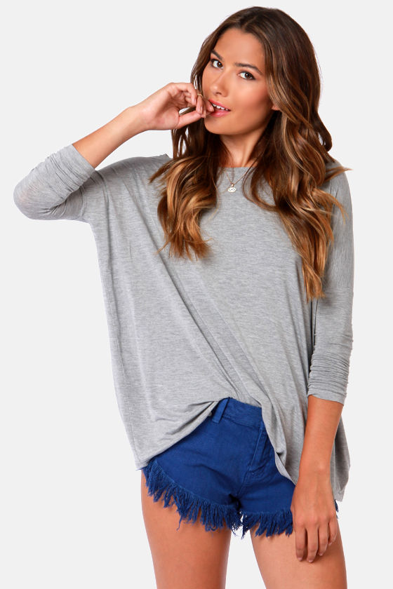 Thrilling Me Softly Grey Long Sleeve Top at Lulus.com!