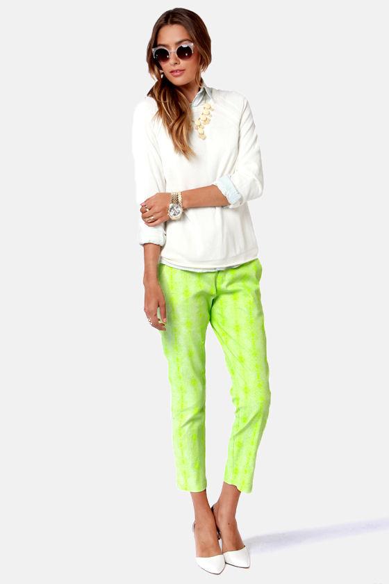 Hot Neon Green Pants - Snake Print Pants - Cropped Pants - $45.00