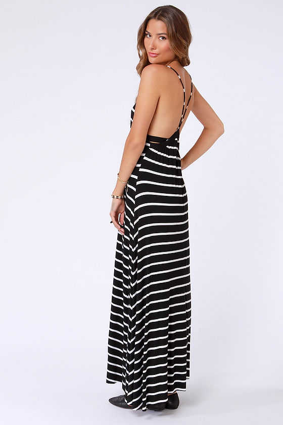Wilshire Boulevard Black and White Striped Maxi Dress at Lulus.com!