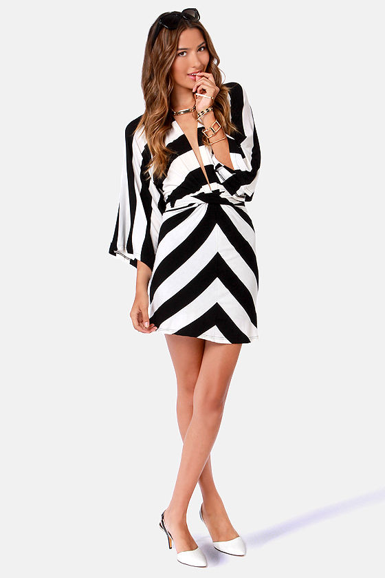 Cute Black and White Dress - Striped Dress - Kimono Dress - $63.00
