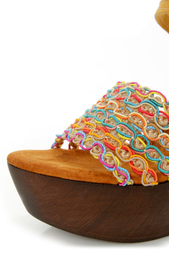 Sbicca Gypsy Yellow Multi Woven Platform Sandals at Lulus.com!