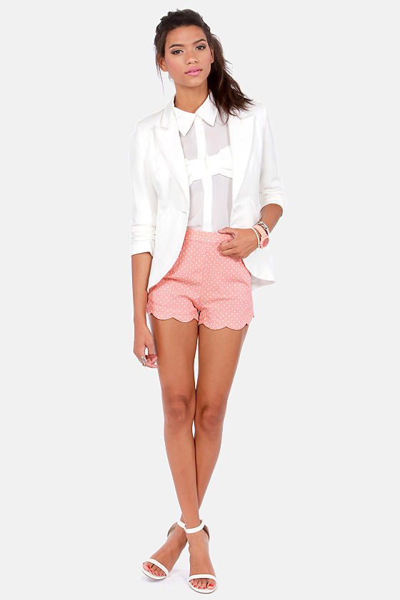 Getting Spot In Here Peach Polka Dot Shorts at Lulus.com!