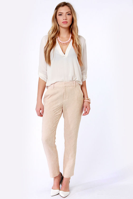 Jacquard Player Blush Pink Pants at Lulus.com!