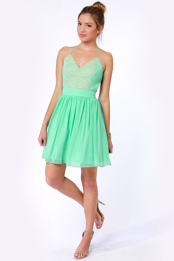 LULUS Exclusive Just Dance Backless Mint Green Lace Dress at Lulus.com!