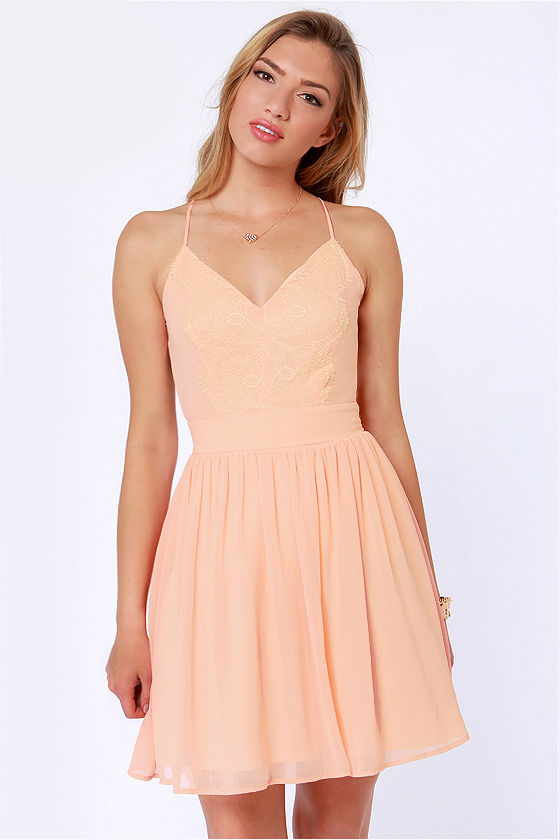 LULUS Exclusive Just Dance Backless Peach Lace Dress at Lulus.com!