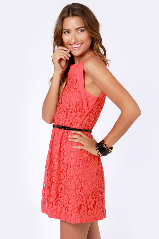 Cut to the Lace Coral Red Lace Dress at Lulus.com!
