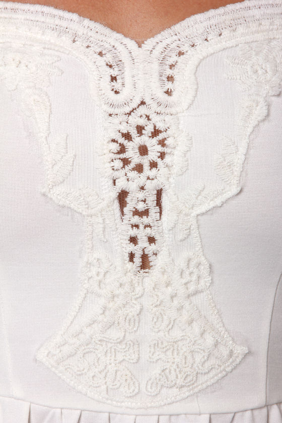 Moonlit Balcony Ivory Lace Dress at Lulus.com!