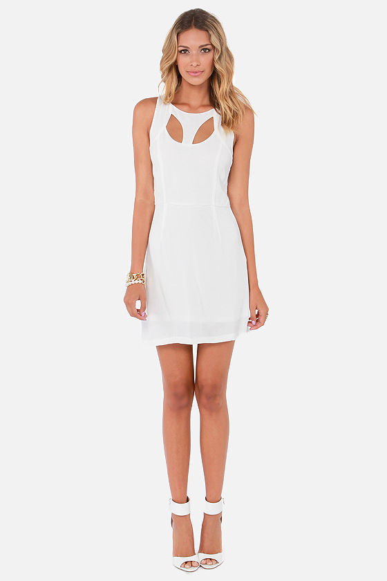 Mink Pink Peekaboo Cutout Ivory Dress at Lulus.com!