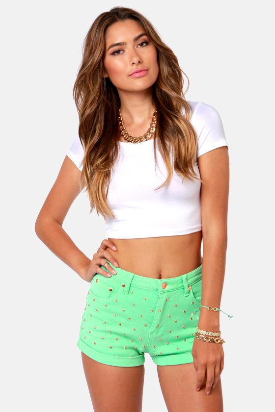 Mink Pink Cheeky Shorts - Mint Green Shorts - Studded Shorts - $79.00