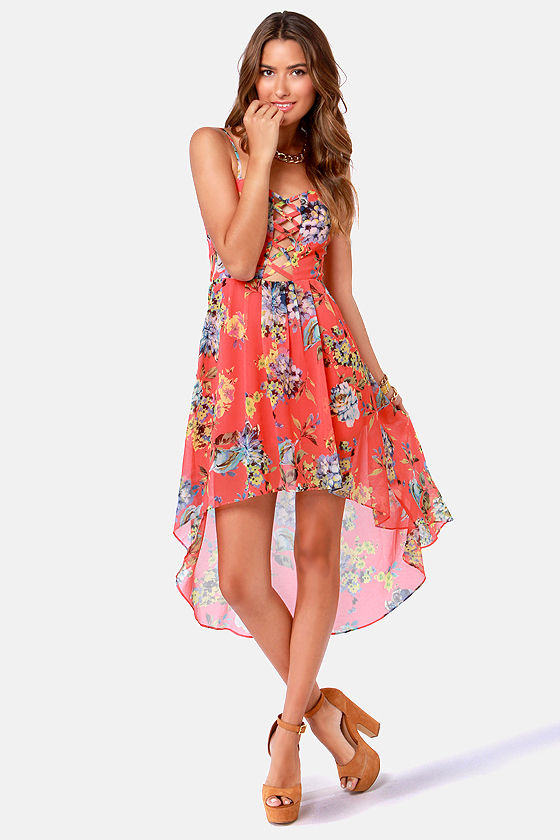 Pretty Floral Print Dress - High-Low Dress - Coral Dress - $43.00