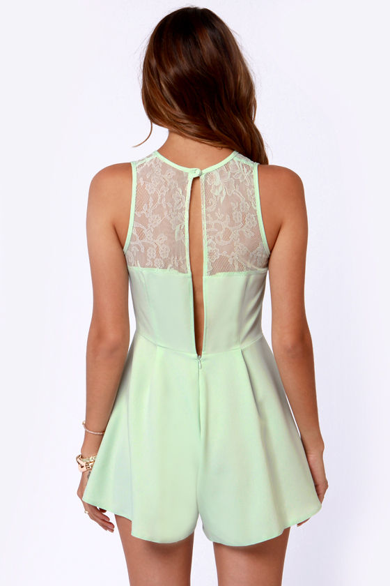 Dessert's So Good Mint Lace Romper at Lulus.com!