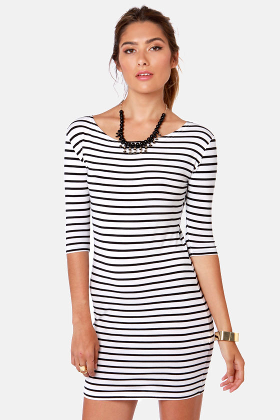 Shipshape Black and White Striped Dress at Lulus.com!