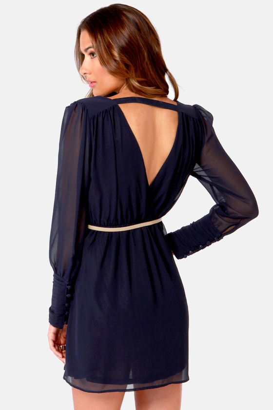 On the Wrap Navy Blue Long Sleeve Dress at Lulus.com!