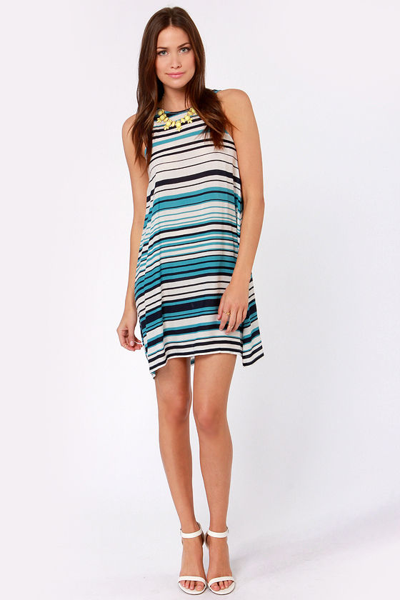 Cast Your Boat Blue and White Striped Dress at Lulus.com!