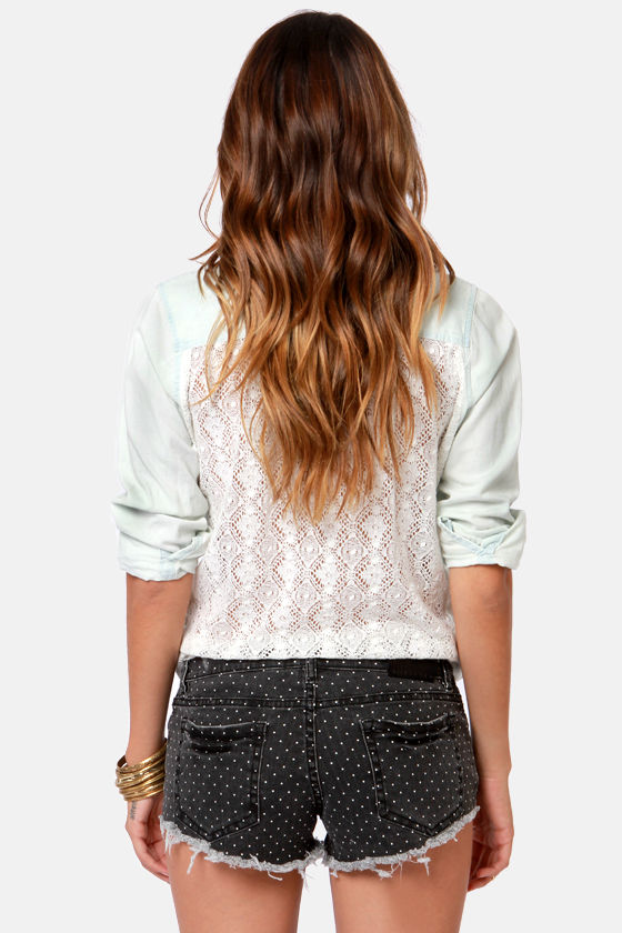 Billabong Lite Hearted Black Polka Dot Corset Shorts at Lulus.com!