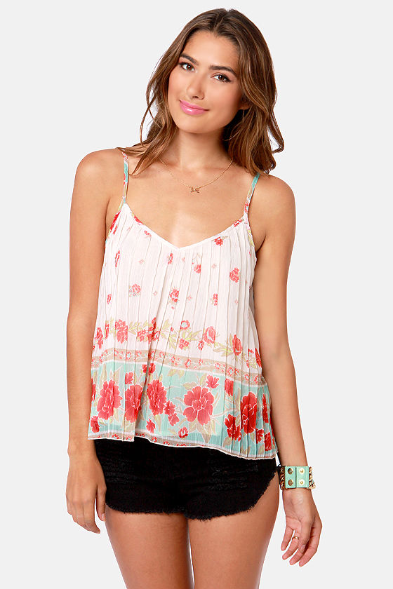 Billabong Dare to Sun Cream Floral Print Tank Top at Lulus.com!
