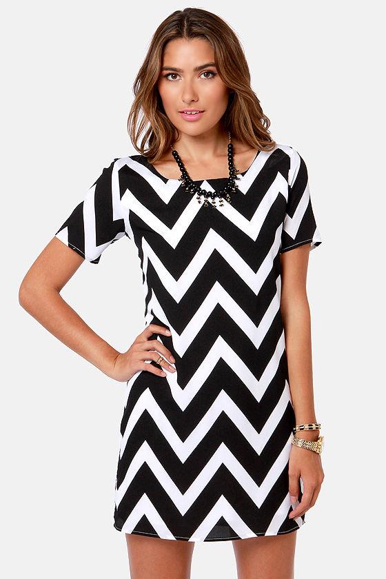 Cute Black And White Dress - Chevron Print Dress - Shift Dress - $38.00